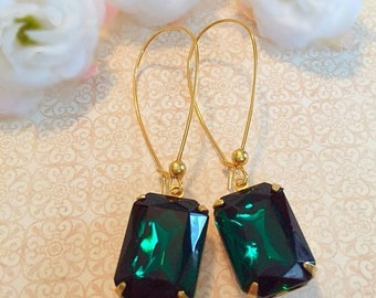 SALE 20% Off Emerald Earrings - Green Earrings - Art Deco Jewelry- Victorian Earrings - DORSET Emerald