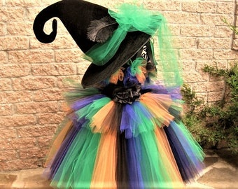 WACKY WITCH COSTUME - Halloween Costume - Witch Costume - Black and Green Witch - Dress up Witch - Striped Witch Costume - Treat or Treat -