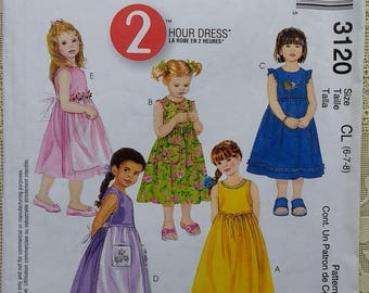 Easy Girls Dress Pattern Mccalls 3120 Childrens Girls 2 Hour sleeveless dress pattern