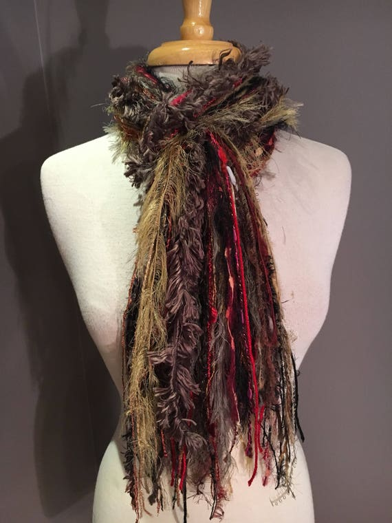 Fringie in Red Sun, Multi-texture fringe scarf, fluffy neck scarf, boho, fur scarf, red mustard taupe scarf, faur fur, bohemian