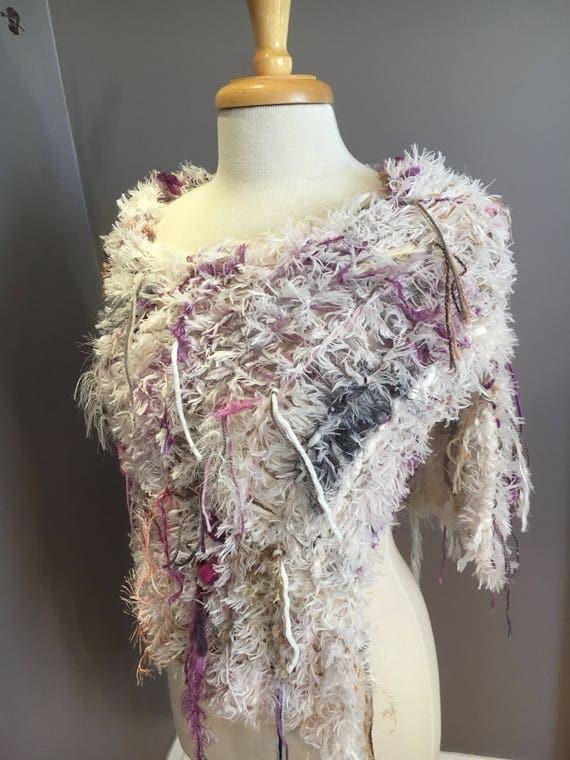 Dumpster Diva Fringed Poncho with cream faux fur base, Fur Cream Knit Poncho, ivory, purple poncho, fur capulet, art wear, boho, gyspy