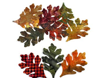 TEN Batik Oak Leaves, Applique Iron-On, Brown, Green, Gold, Rust and Purple Leaves