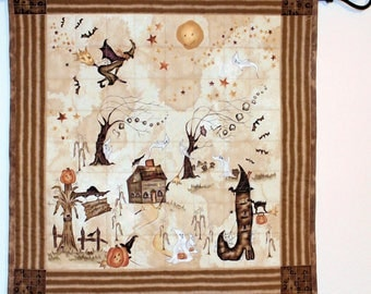 Rustic Halloween Quilted Wall Hanging, Autumn Quilt, Small Tan and Brown Fall Quilt, Country Halloween Decor, Quiltsy Handmade