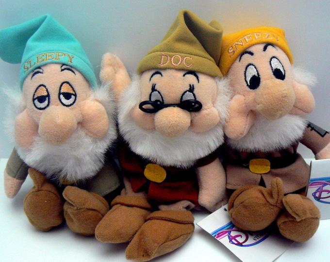 Disney Sleepy Doc Sneezy Dwarf Bean Bag Plush Set of 3 of Snow Whites Dwarves