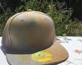 Yellow-Orange-Pink Shimmer Flat Brim Snapback Hat