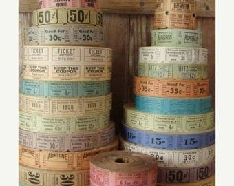ON SALE 100 Vintage and Antique Tickets Pretty and Soft farmhouse Colors Carnival/Circus/Drive In/Admission/Circus Lot