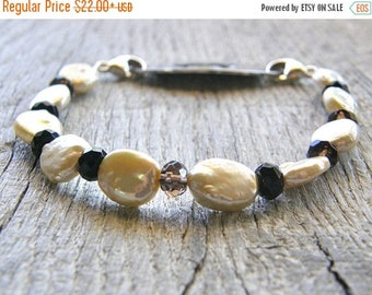 Summer Sale 20% Off Champagne Pearl and Smokey Quartz Medical ID Bracelet, Cream Ivory Brown Alert Bracelet, Stainless or Silver Clasp Repla