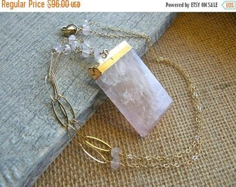 Summer Sale 20% Off Large Rose Quartz Pendant and Gold Extra Long Necklace