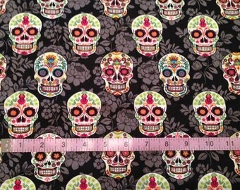 Sugar Skulls on Black Floral Background Cotton Fabric by the half yard and by the yard