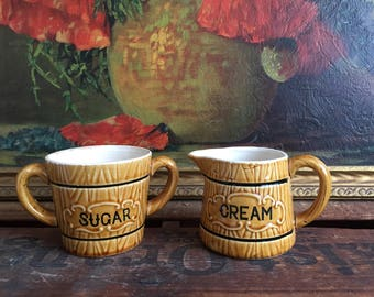 Barrel of Sugar Bowl and Cream Creamer Set of 2 Vintage Distressed Ceramic Brown Black White