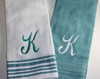 Monogrammed Kitchen Towel Set of 2- Initial, Personalized; Black; Red; Navy; Khaki; Topaz; Wedding; Housewarming