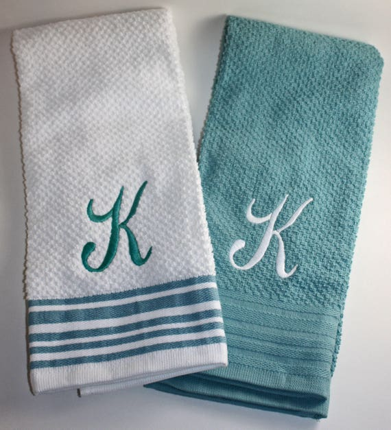 Monogrammed Kitchen Towel Set Of 2 Initial Personalized