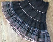 Vintage 1950's Black and Pink Ruffled Crinoline Petticoat Slip Size Medium