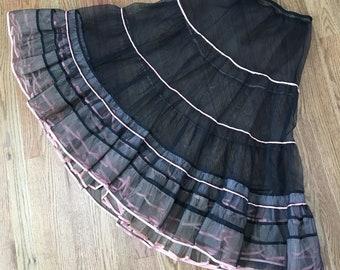 Vintage 1950's Black and Pink Ruffled Crinoline Petticoat Slip Size Medium