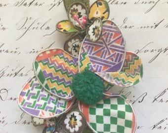 Handmade 1979's Fabric Brooch or Pin
