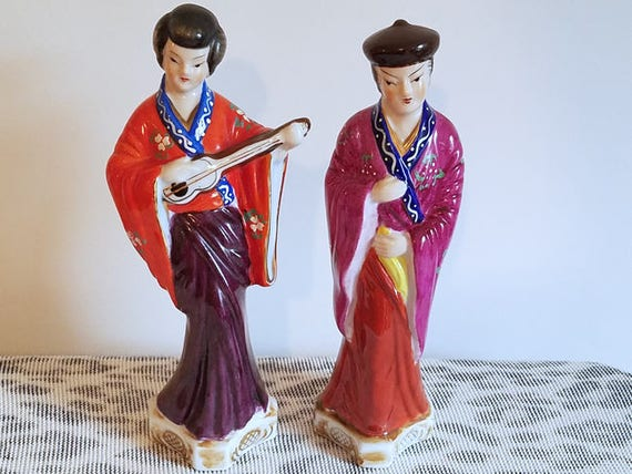 Pair of vintage Japanese hand painted man and woman figurines / ceramic / pottery / Asian / Oriental / Japan