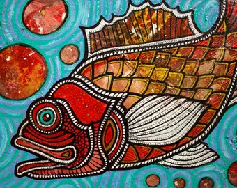 Original Red Fish Painting by Artist Lynnette Shelley