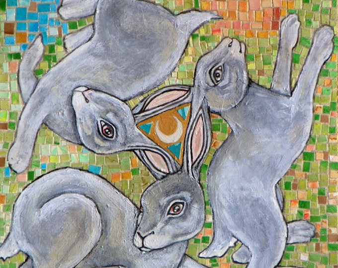 "STUDIO SALE - Original Mosaic / Collage / Mixed Media ""Three Hares"" Artwork by Lynnette Shelley"