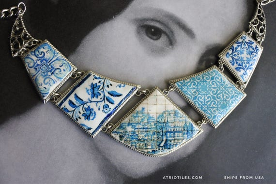 Bib Necklace Portugal Tile Azulejo Blue Antique History Mosaic Great View of Lisbon 1700 pre-earthquake tsunami Gift Boxed