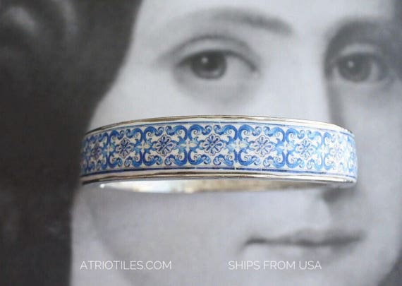 Bracelet Tile Portugal BLUE Azulejo Blue Bangle Aveiro Santa Joana - Ships from USA  (see Facade photo) Size M Gift Boxed