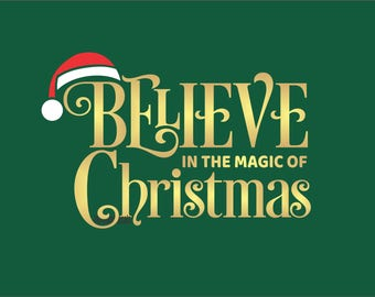 Believe in the magic decal, Christmas wall decal, santa hat, believe in Santa Claus, vinyl letters with stars & Santa hat, Christmas