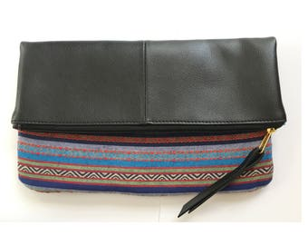 Fold Over Vegan Leather Blue Aztec Print Clutch Purse
