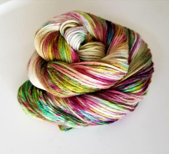 Bayou- 100 Organic Cotton, Hand Dyed, Fingering Weight, Variegated, Speckled Yarn