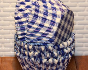 Blue Gingham Cupcake Liners (Qty 45) Blue Gingham Baking Cups, Blue Cupcake Liners, Blue Baking Cups, Cupcake Liners, Baking Cups