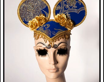 Decadent Blue... Blue and Gold Damask Mouse Ears with Gold Roses Flowers and Beads Fascinator Headdress