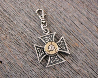 Men's Accessories - Zipper Pull - Bullet Accessories - Biker Jewelry - Maltese Cross Bullet Pull - Purse Charm - Motorcycle Accessories