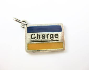 Vintage Sterling Silver Charge Card Yellow & Blue Credit Card