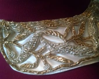 Beaded Collar Vintage Silver Gold Bullion Embroidered Wire Ivory White Satin Evening Embellishment Choker India