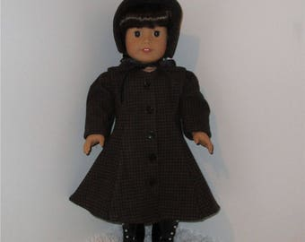 """Brown Checked 1930s Coat with Bonnet, Fits 18"""" Dolls // AG Doll Coat, American Doll Coat, AG Doll Winter Coat, Period Coat, Hat"""