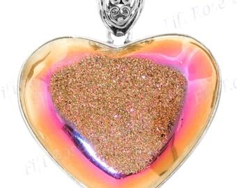 "1 3/4"" Heart Strawberry Mocha Pink Titanium Druzy Drusy 925 Sterling Silver Pendant"