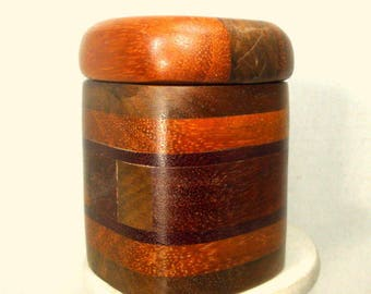 BOX, Wood Handmade Stash, 2 Part,  Slightly Used, Still Very Nice Earthy Colors of Wood Grain