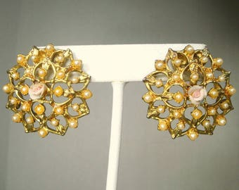 GLAM Post Earrings, Fancy Schmancy Ornate Pearls on Gold,  With a Tiny Center Pink Porcelain Rose, 1960s Fancy Haskell Style