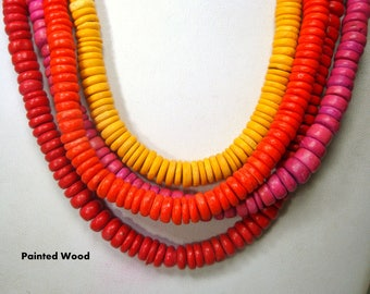 Red Sunset Necklace, Also Pink Yellow Wood Disc 4 Strands of Beads, 1980s, Remember The Rajneesh..