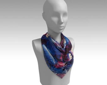 Cobalt, Red Violet Chiffon Scarf / Wearable Original Art / Encaustic Painting on 100% Poly Chiffon  / Available in 6 Sizes / Made to Order