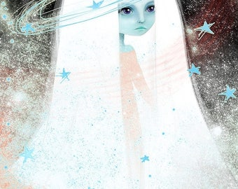 50% Off SALE Fine Art Print - 'Space' - 8.5x11 or 8x10 - Space Celestial Being Princess blue girl - Medium to Large prints - Stars - Pink La