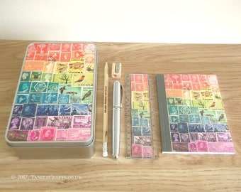 Rainbow Gift Set Stationery Tin | Postage Stamp Storage Tin & Desk Accessories | Back to School Gift, Bohemian Office Desk Tidy Keepsake Tin