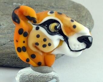 CHEETAH Cat, Big Cat,  Glass Sculpture Collectible, Focal Bead, Pendant, Izzybeads SRA