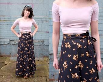 Vintage Black Floral Maxi Skirt-XS-Small-Cotton