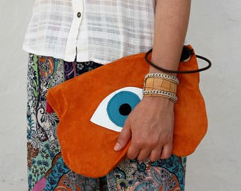 Evil Eye Small Suede Bag in Orange. Leather Bag. Large Suede Wallet. Womens Gift. Gift for Her. Bohemian Bag. Evil Eye Bag