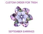Custom order for Trish: Light sapphire and gold crystal earrings, light blue earrings, gold earrings, September birthstone earrings