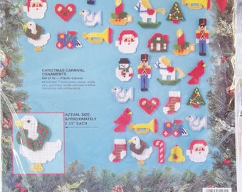 Vintage Bucilla Christmas Ornament Kit, Christmas Carnival Ornaments #61181 on Plastic Canvas, Makes 48 Pieces, Tree Trim, Holiday Decor