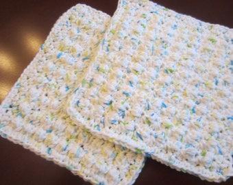 Set Of Two Cotton Hand Crochet Pot Holders Washcloths Dishcloths