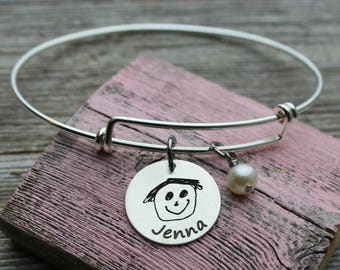 Custom Child's Artwork Bangle Bracelet engraved with your child's actual drawing, Sterling Silver