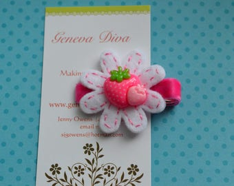 Medium and Light Pink Polka Dot Strawberry Felt Flower Clip
