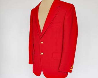 80's Mens Red Sport Coat / Gold Buttons / Wool & Polyester / Hunter Haig / NWT / Size 46R