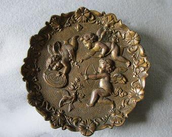 Vintage Victorian Style Tray, Plaque Cupid or Cherub Angels